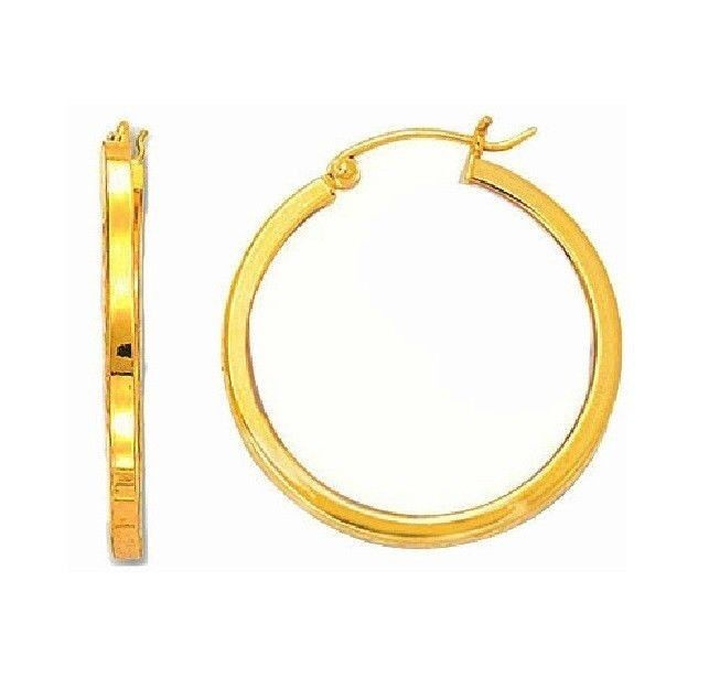 14k real yellow gold round square tubular hoop hoops. Black Bedroom Furniture Sets. Home Design Ideas
