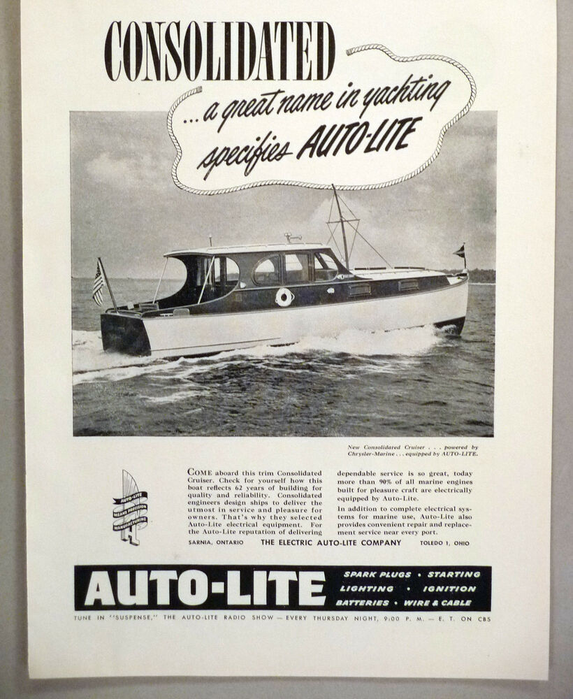 Auto-Lite Boat Battery & Spark Plug PRINT AD - 1948 ~~ Consolidated ...