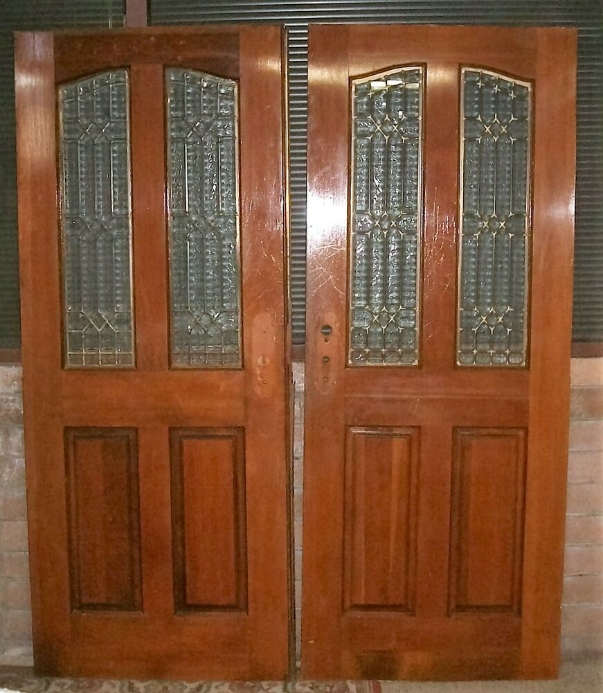 Vintage Pair Of French Entry Doors With Leaded Glass Panels Exterior 64 X 80 Ebay