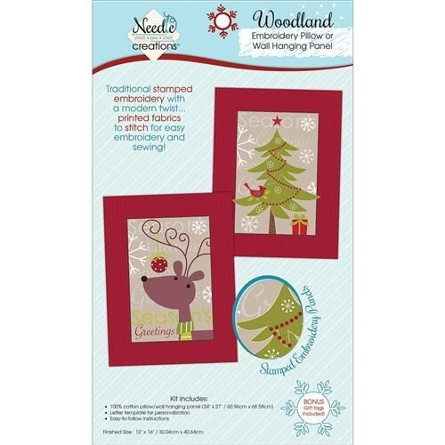Fabric Editions Christmas Pillow/Wall Art Panel For Embroidery ...