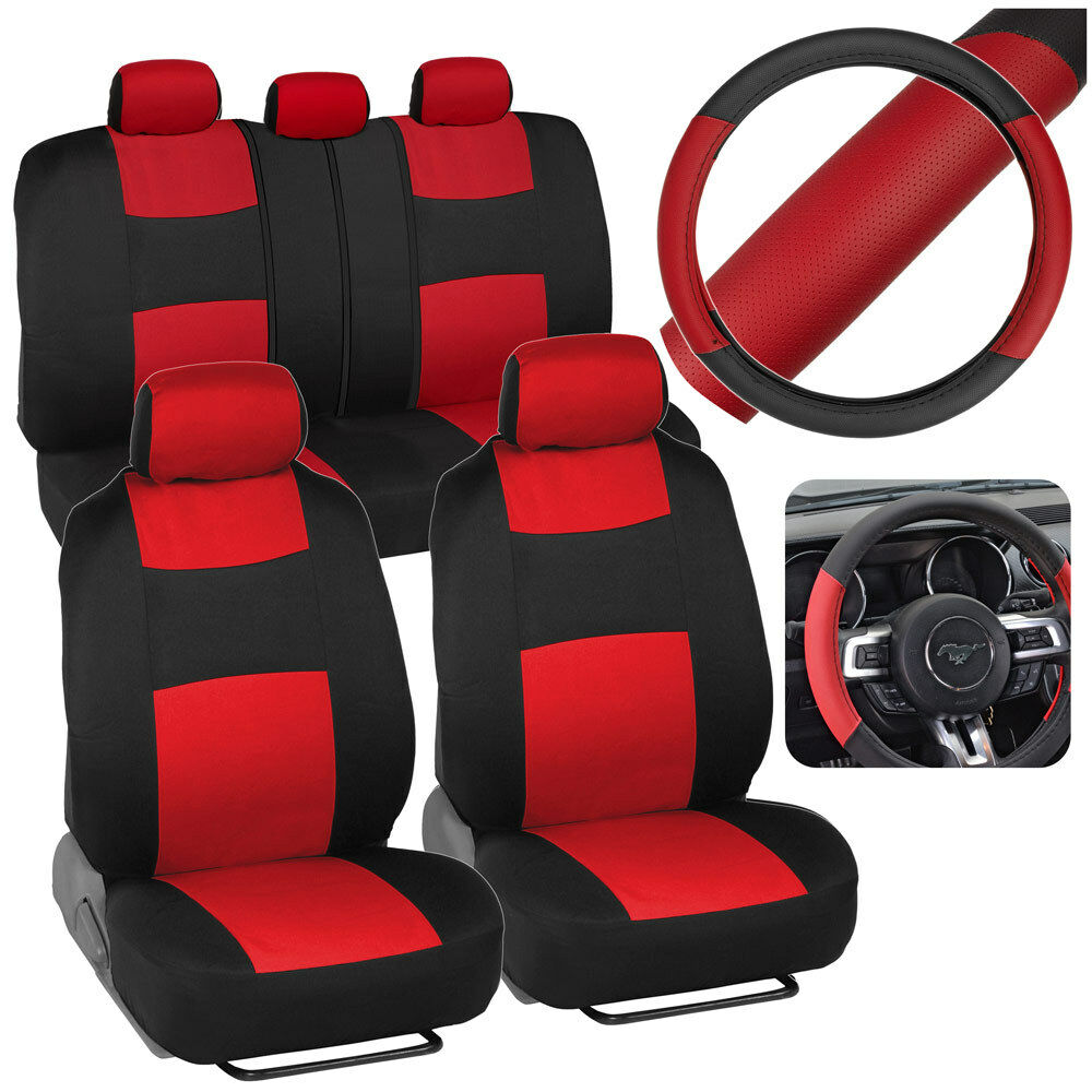 Red Car Seat Covers Set Split Bench Option 5 Headrests W