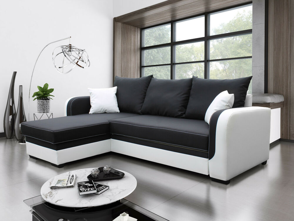 ecksofa bora couch mit schlaffunktion eckcouch sofagarnitur modern 01 ebay. Black Bedroom Furniture Sets. Home Design Ideas