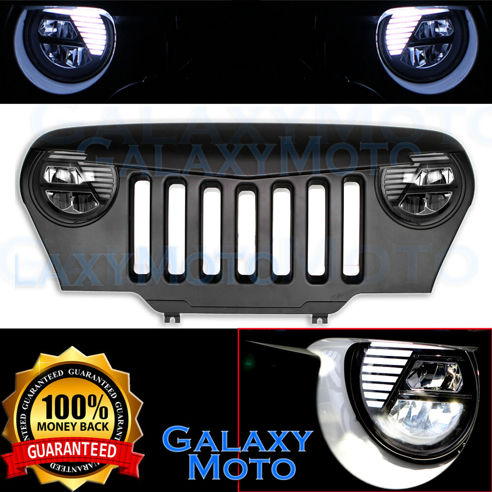 Jeep Tj Parts >> 97-06 Jeep TJ Wrangler Matte Black+Angry Bird Overlay Grille Shell+LED Headlight | eBay