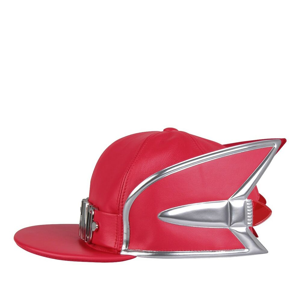 Details about  825 MOSCHINO Couture x Jeremy Scott Cadillac SnapBack Red  Leather Hat Cap RARE! 20ddd001d83