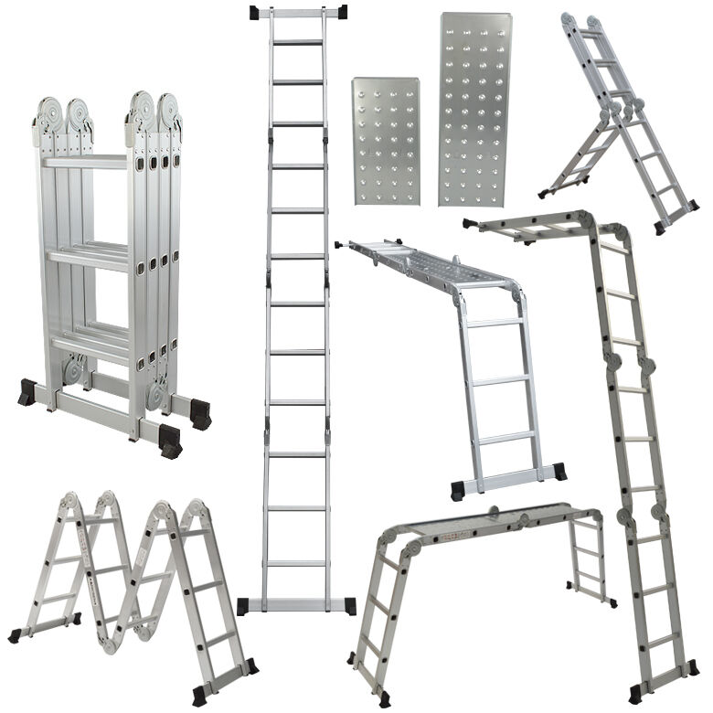 Multi purpose aluminum folding step ladder 12 5ft foldable for Escalera plegable homecenter