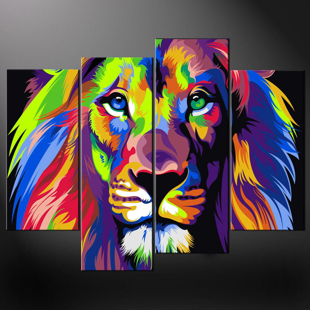 abstract lion canvas print picture wall art free uk