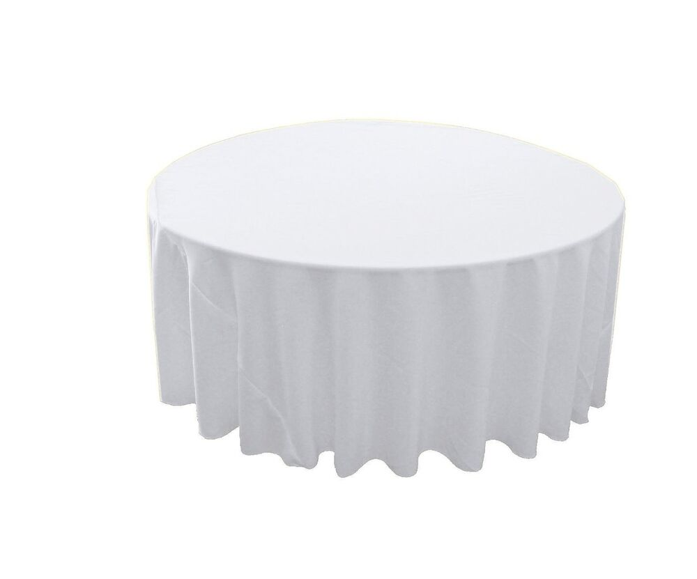 Tablecloth 120 inch round polyester poplin 1 pack white for 120 round table cloths