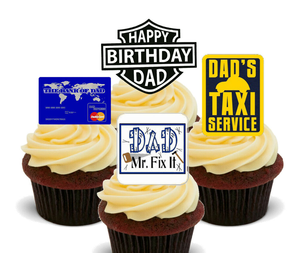 Happy Birthday Dad Funny Edible Cupcake Toppers Stand Up Fairy Cake Decorations 7426765181717