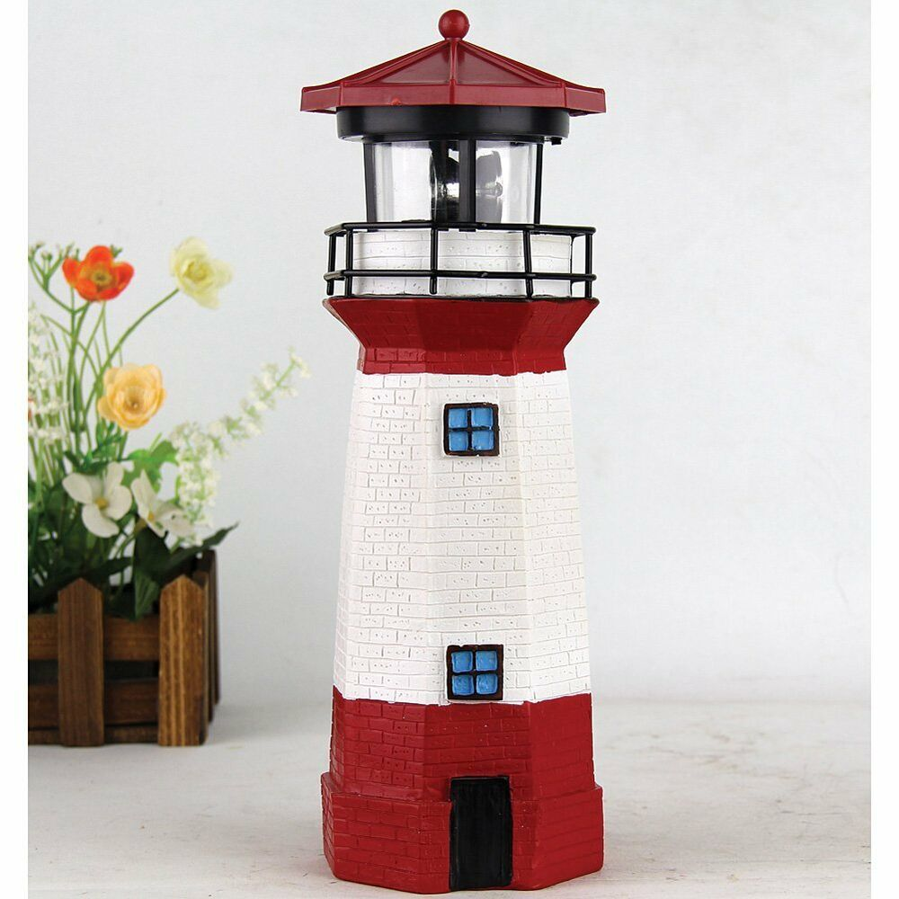 New solar powered lighthouse rotating lamp garden decor for Outdoor decorating with solar lights