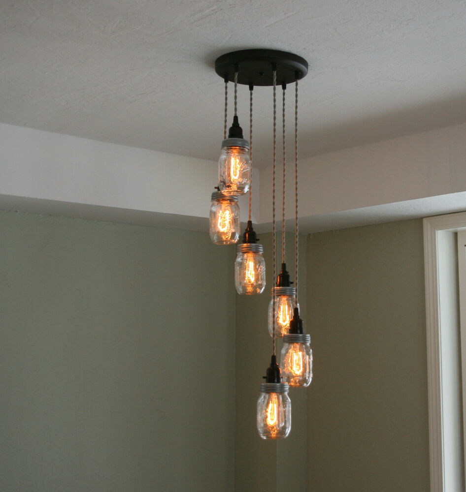 6 Strand Spiral Mason Jar Chandelier On 10 Quot Oil Rubbed