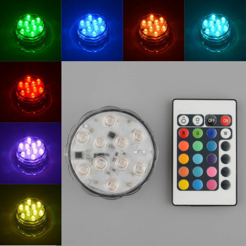 10 led submersible 3 x aaa led waterproof light 24 key remote control ebay. Black Bedroom Furniture Sets. Home Design Ideas
