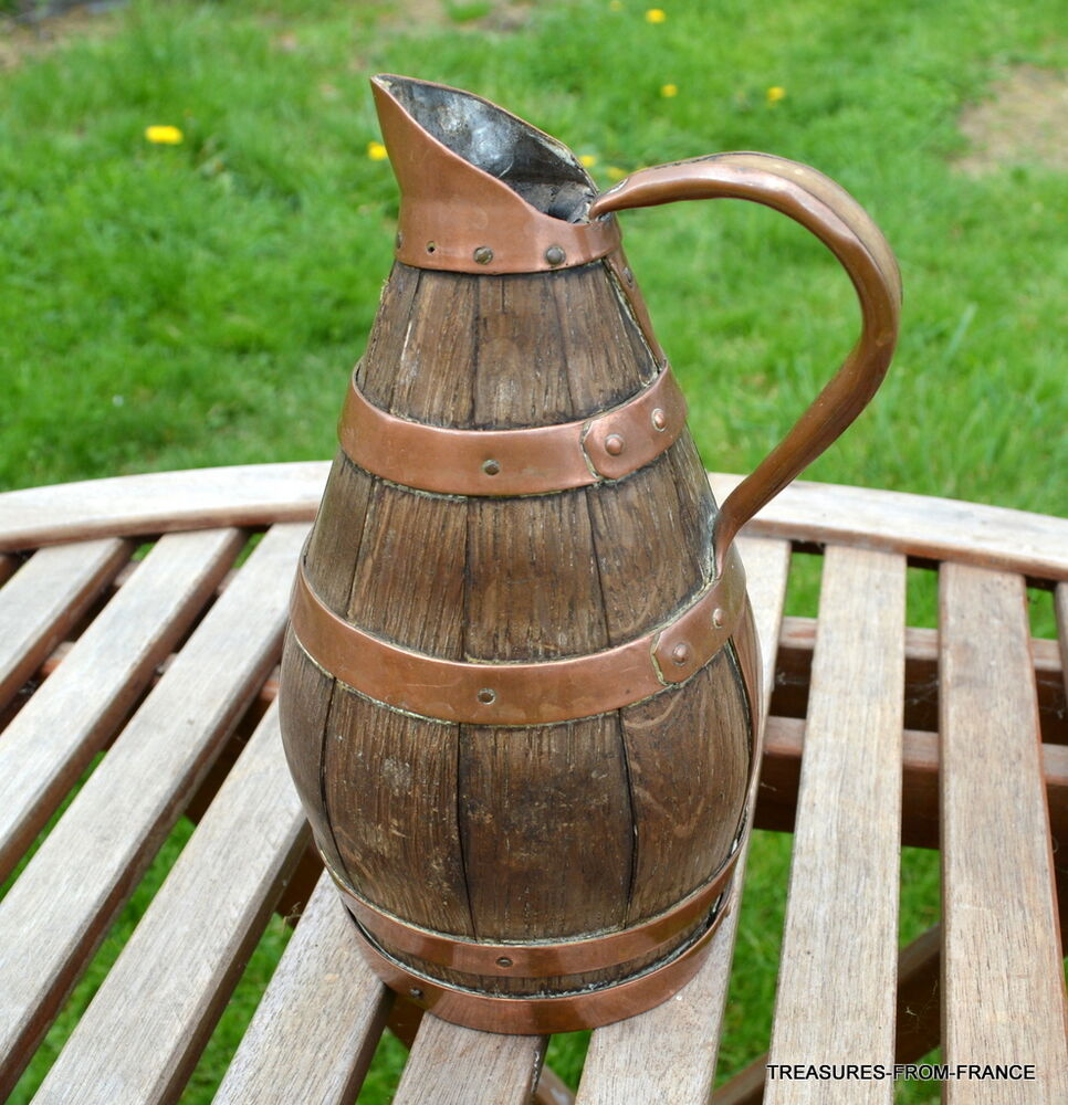 RARE Old French Antique Copper And Wooden Wine/cider Jug