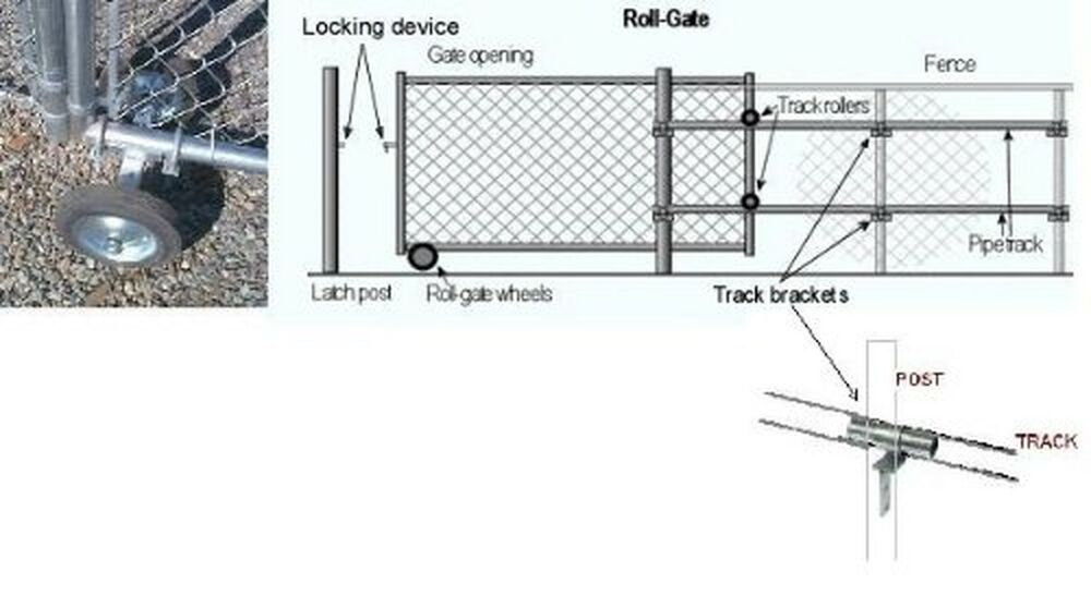 Fence Rolling Gate Hardware Kit Residential Chain Link