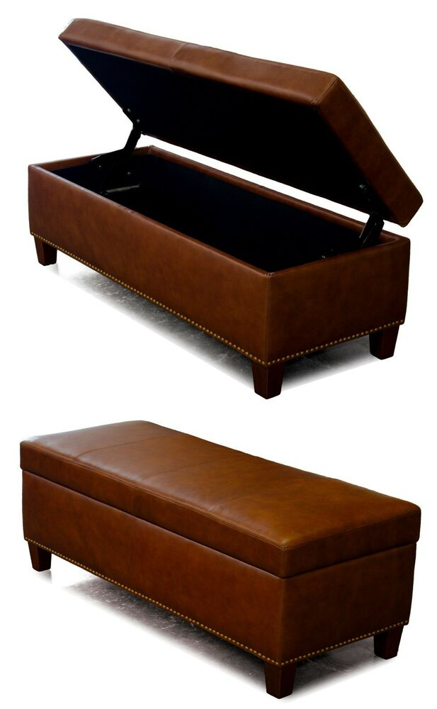 Genuine Leather Storage Bench Coffee Table Oversized Ottoman With Nail Heads Ebay