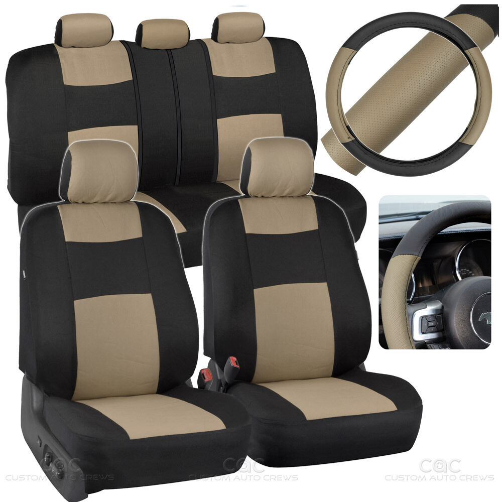 Beige Black Car Seat Covers W Split Bench Amp Pu Perforated