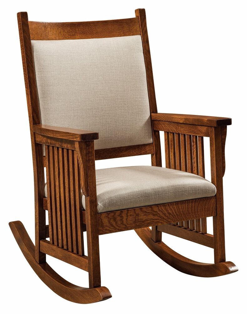 Amish mission craftsman rocking chair rocker slat sides