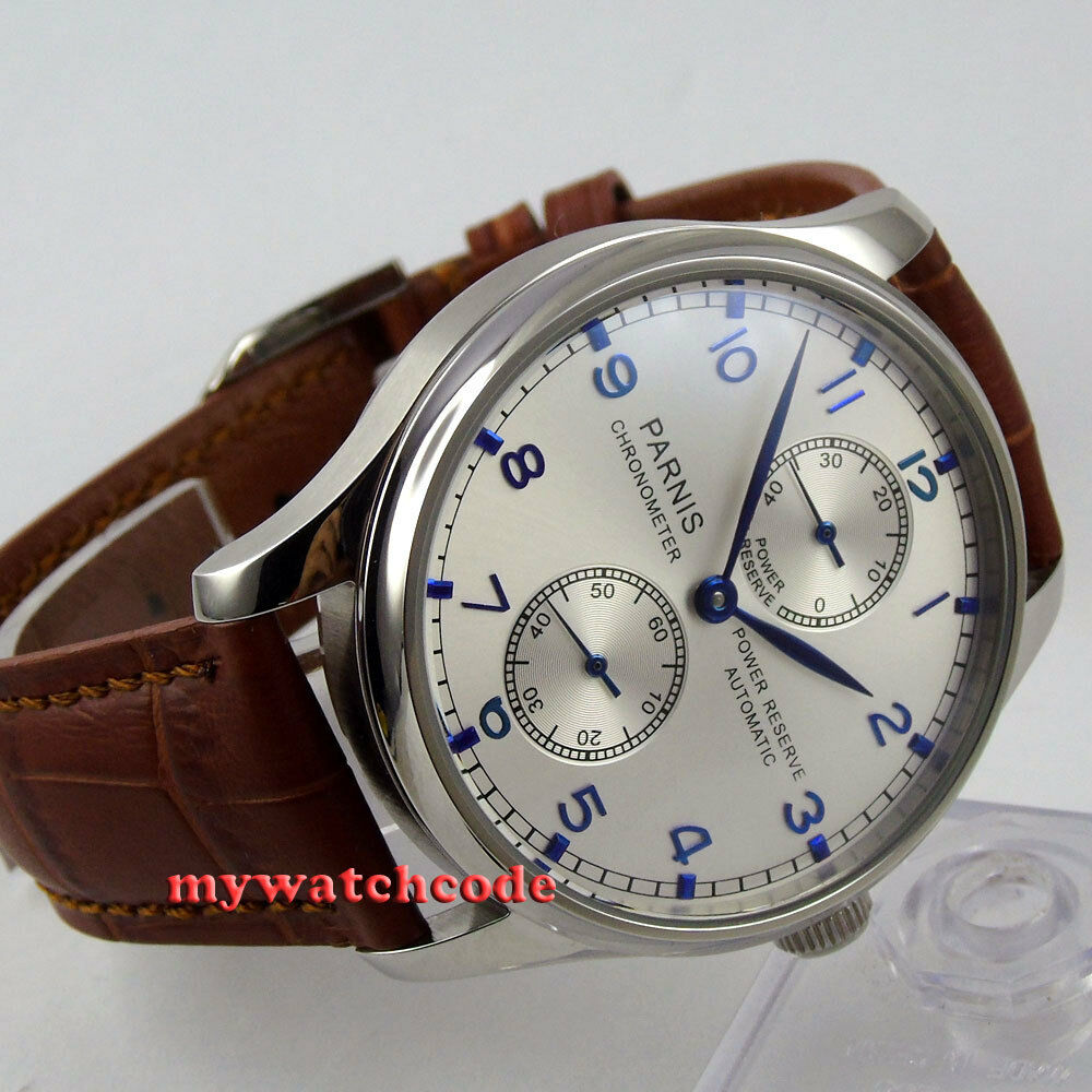 43mm parnis silver dial power reserve seagull automatic movement mens watch p99 ebay for Auto movement watches