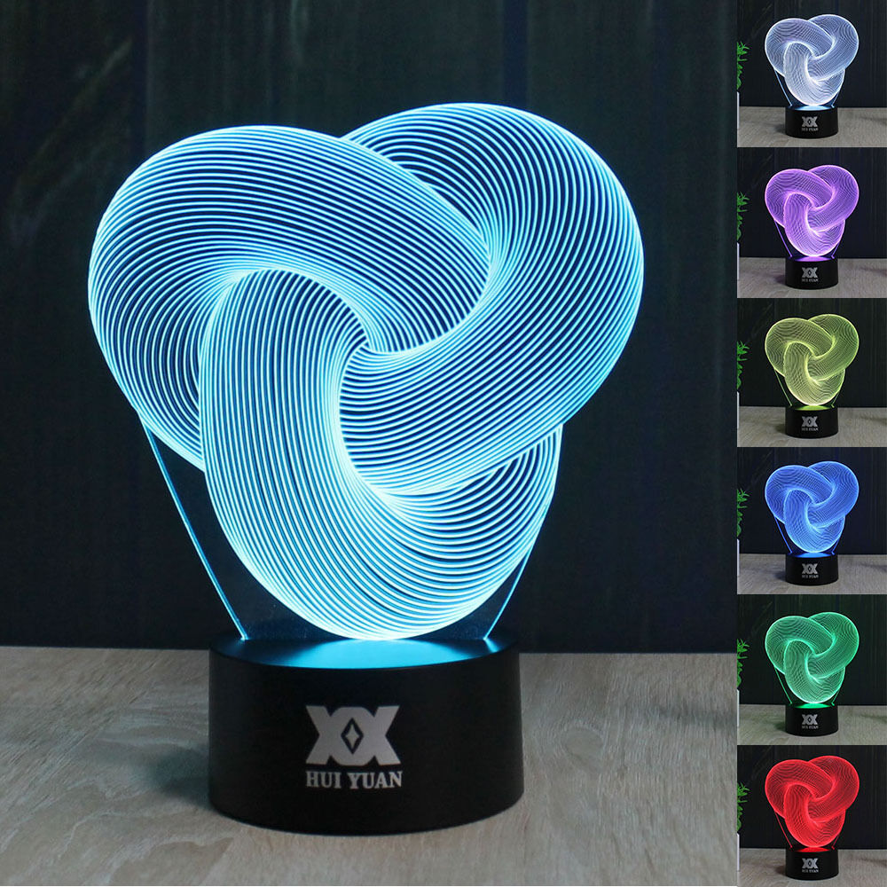 Abstract 3d Led Illusion Night Light 7 Color Touch Switch Table Desk Lamp Gift Ebay