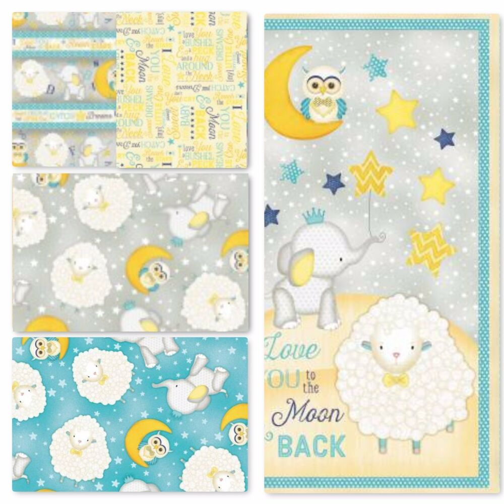 To the moon and back nursery cotton fabric owl sheep for Nursery cotton fabric