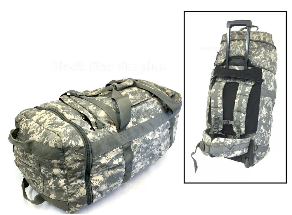 Versatile Military Expandable Rolling Backpack Duffle Suitcase Ebay