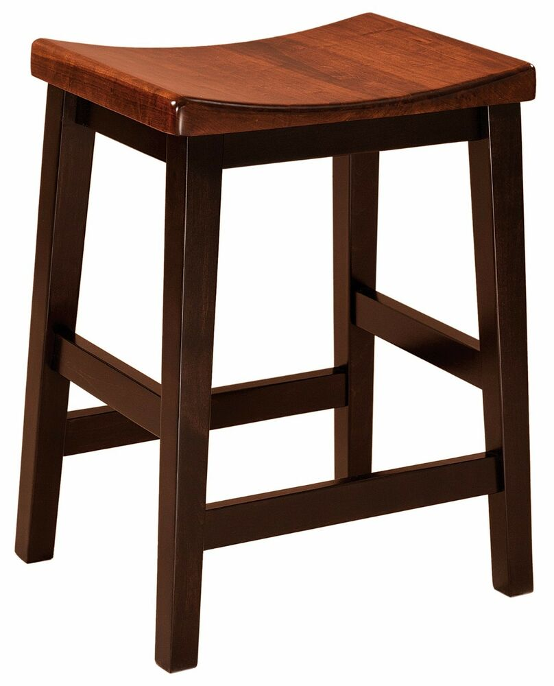Set 4 Amish Coby Saddle Seat Bar Stool Solid Wood