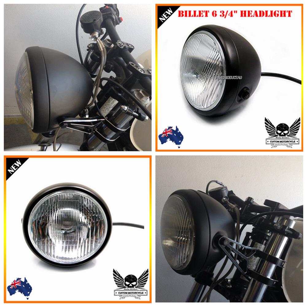 Cafe Racer Headlight Assembly : Black billet motorcycle quot h w headlight harley