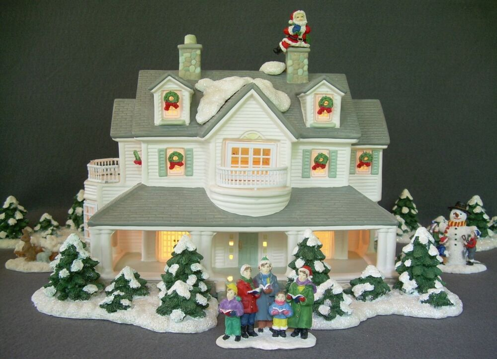 Christmas Village Lighted Ceramic House & Accessories ...