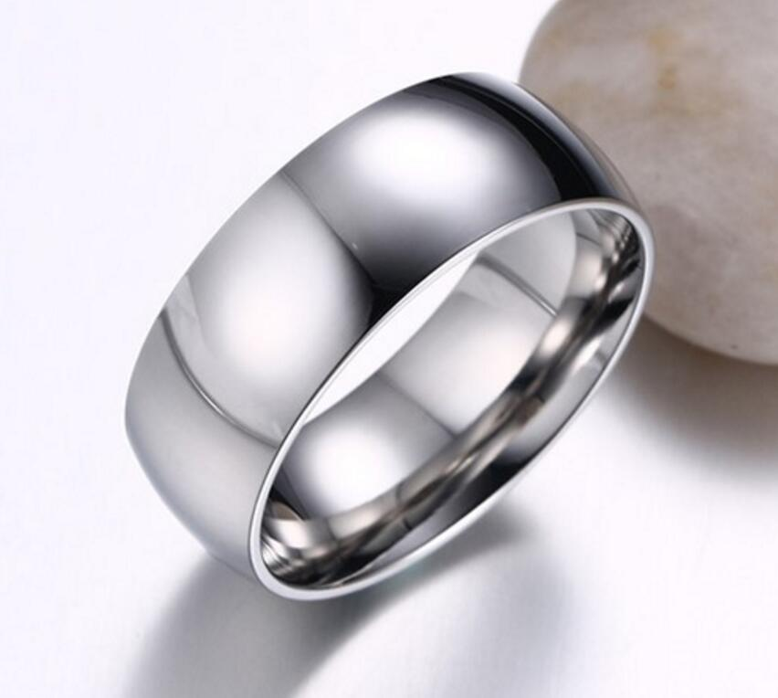 Stainless Steel Mens Wedding Band Ring 8mm: Men's Titanium Stainless Steel Silver Comfort Fit Plain
