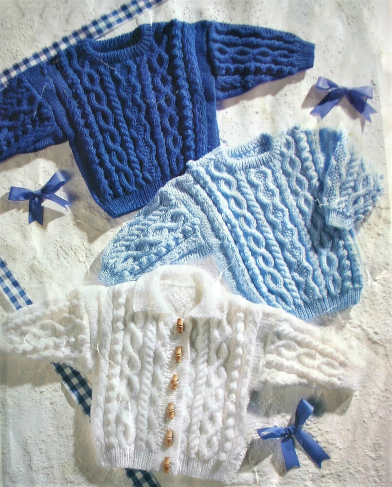 ARAN KNITTING PATTERN suitable DOLLS 16