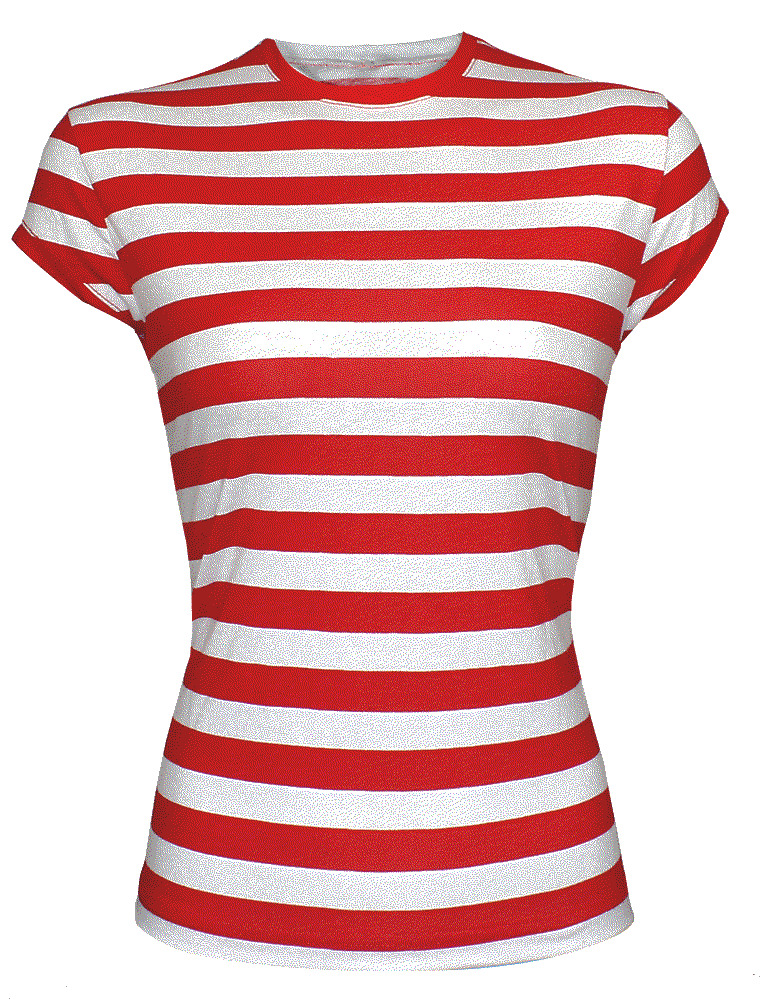 New red and white striped cap sleeve ladies womens girls for Best striped t shirt