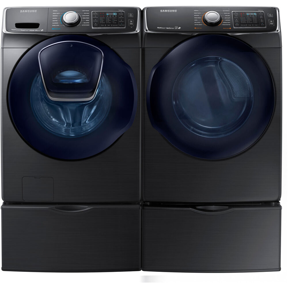 Samsung Black Stainless Washer Electric Dryer Pedestals