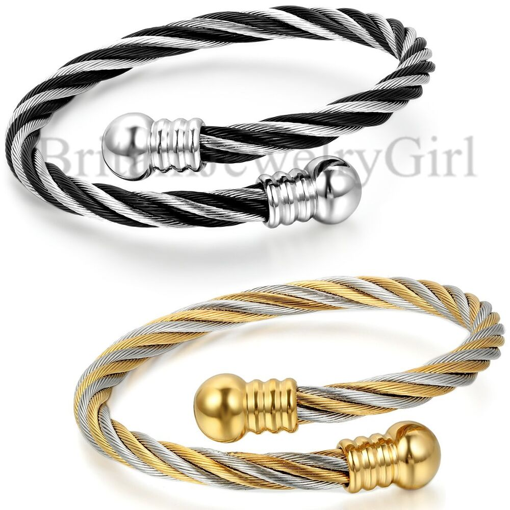 Black Bracelet Womens: Men Women Stainless Steel Black Gold Tone Twisted Cable