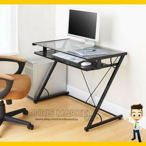 Student computer desk glass top home office smoky glass table furniture black ebay - Glass top office desk ...