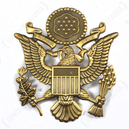 img-US Army OFFICER VISOR CAP BADGE - Antique Style - WW2 Peaked Hat Screw Pin Patch