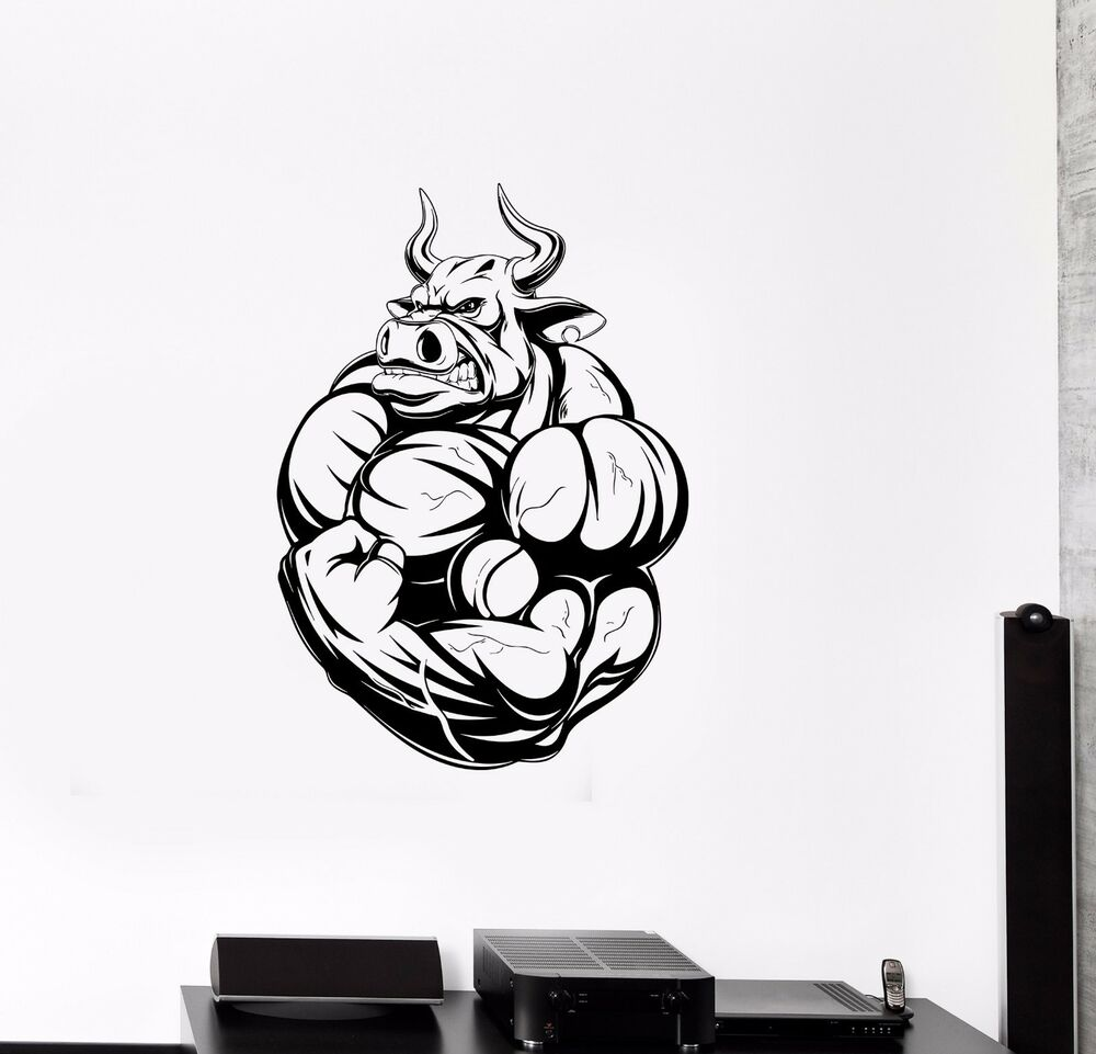 Details About Wall Vinyl Sticker Decal Fitness Bodybuilding Angry Bull  Muscles Animals (ed494)