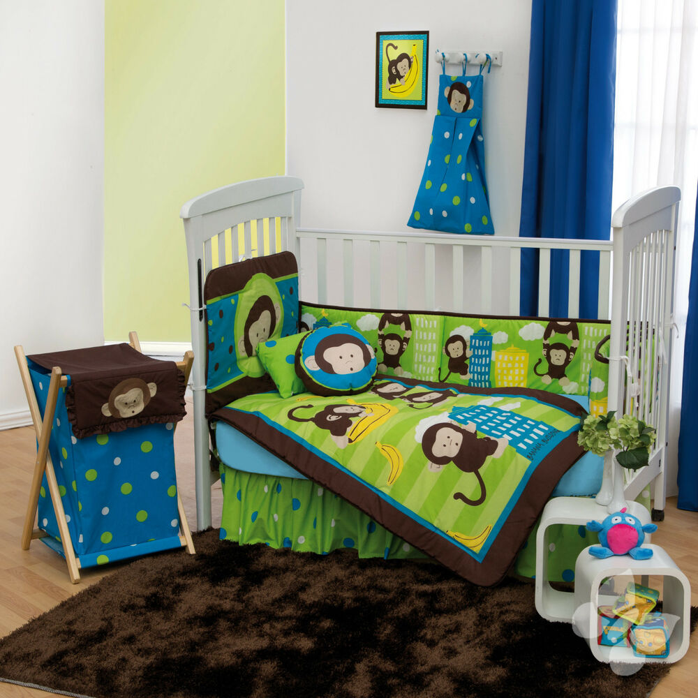 new brown green monkeys baby boy crib bedding nursery set 10148 | s l1000