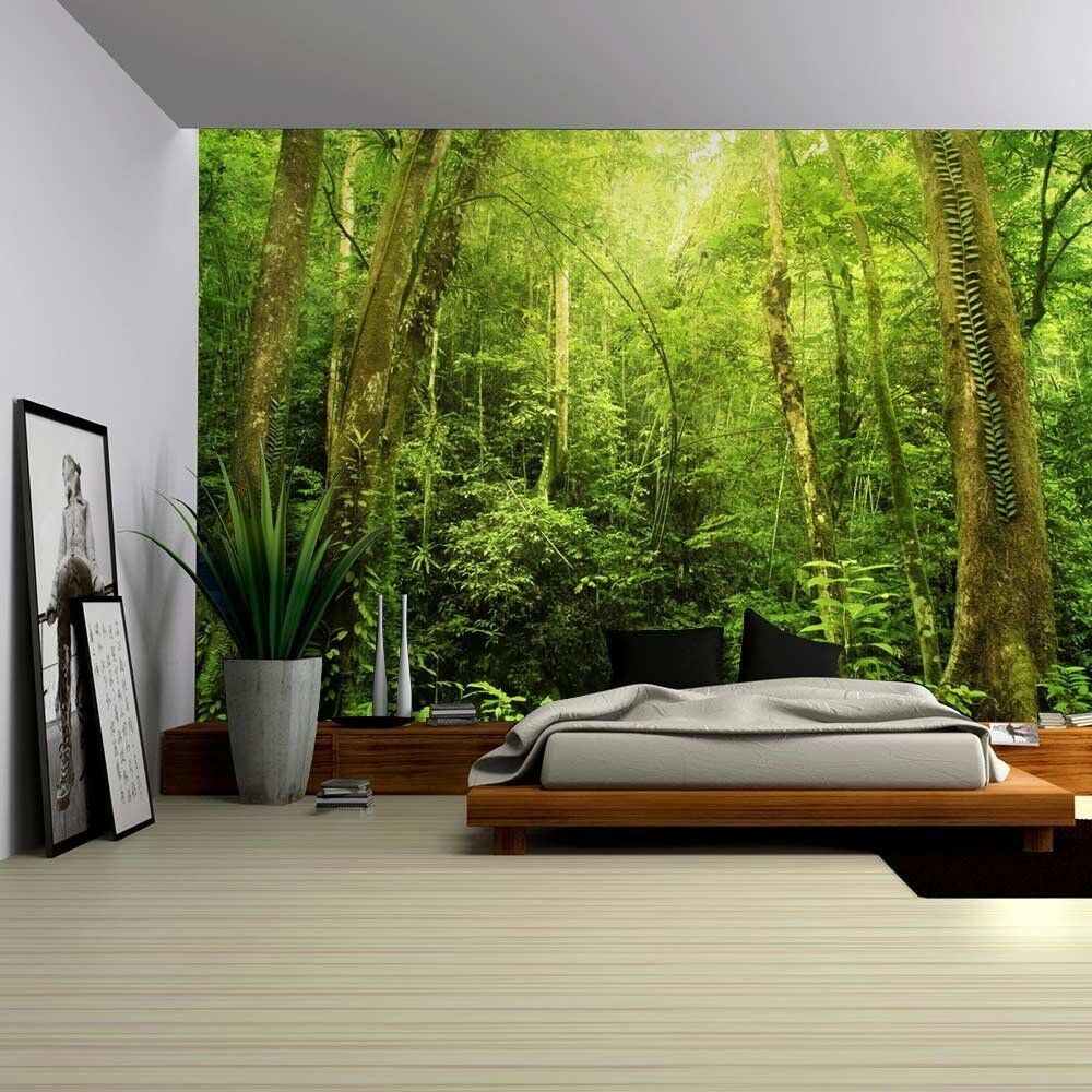 entrance to a dark leafy forest wall mural removable
