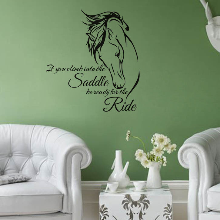 Horse head wall decal stickers quote saddle ride living for Living room quote stickers