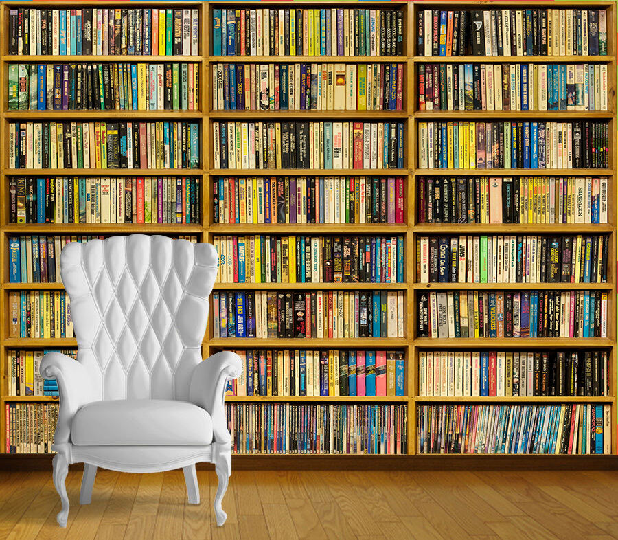 Library books book case wall art wall mural self adhesive for Book wallpaper for walls