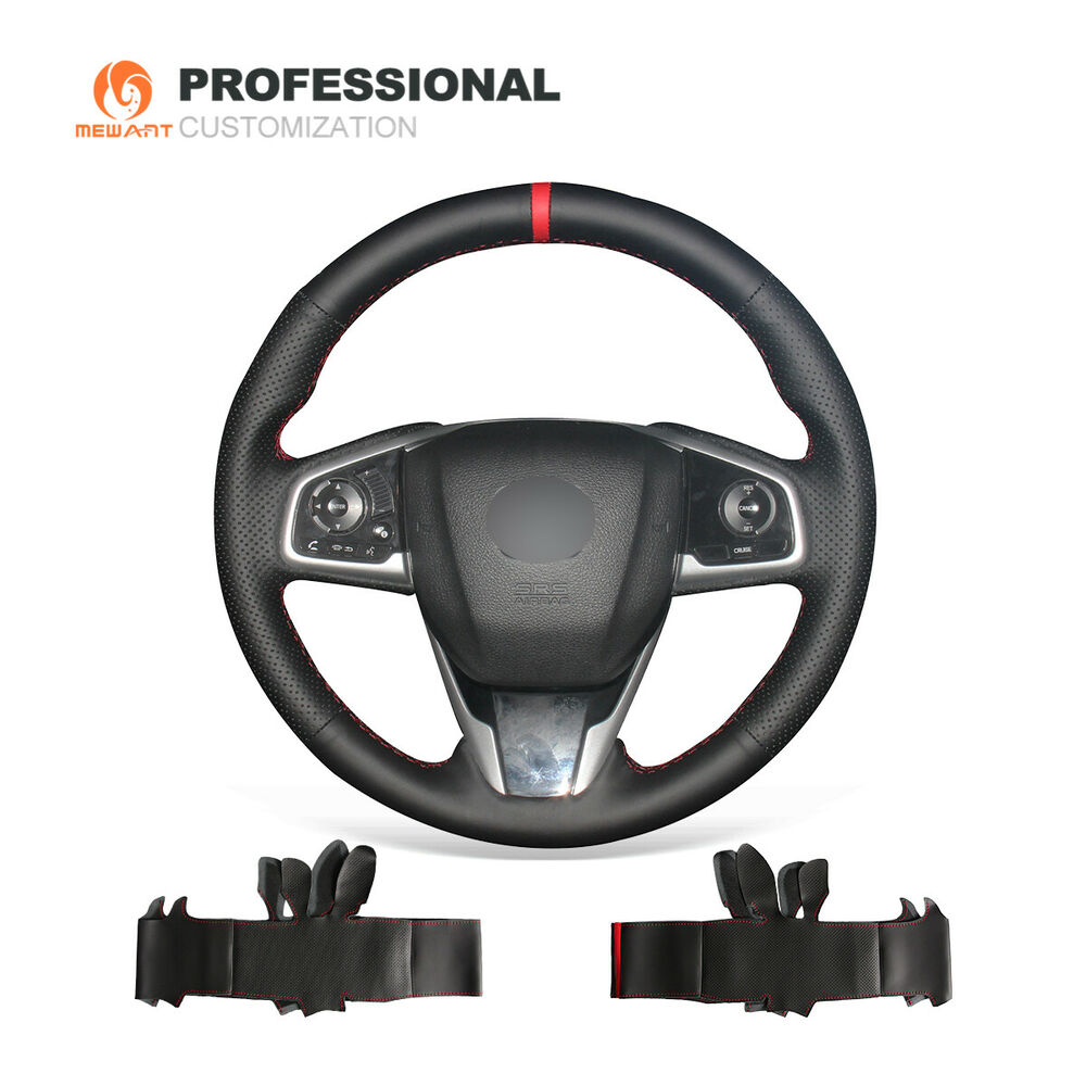 FITS 92-05 HONDA CIVIC BLACK PERFORATED LEATHER RED STRAP STEERING WHEEL COVER