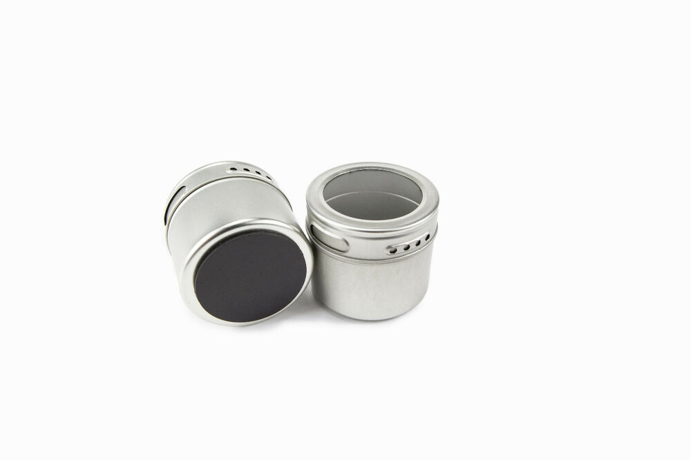 magnetic spice tins  set of 6 clear tops and shaker lids