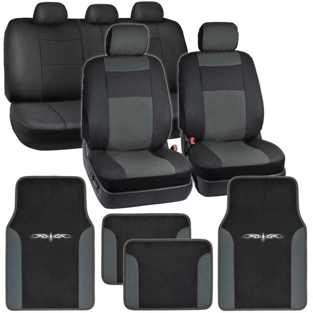synthetic leather car seat covers carpet floor mats black charcoal gray ebay. Black Bedroom Furniture Sets. Home Design Ideas