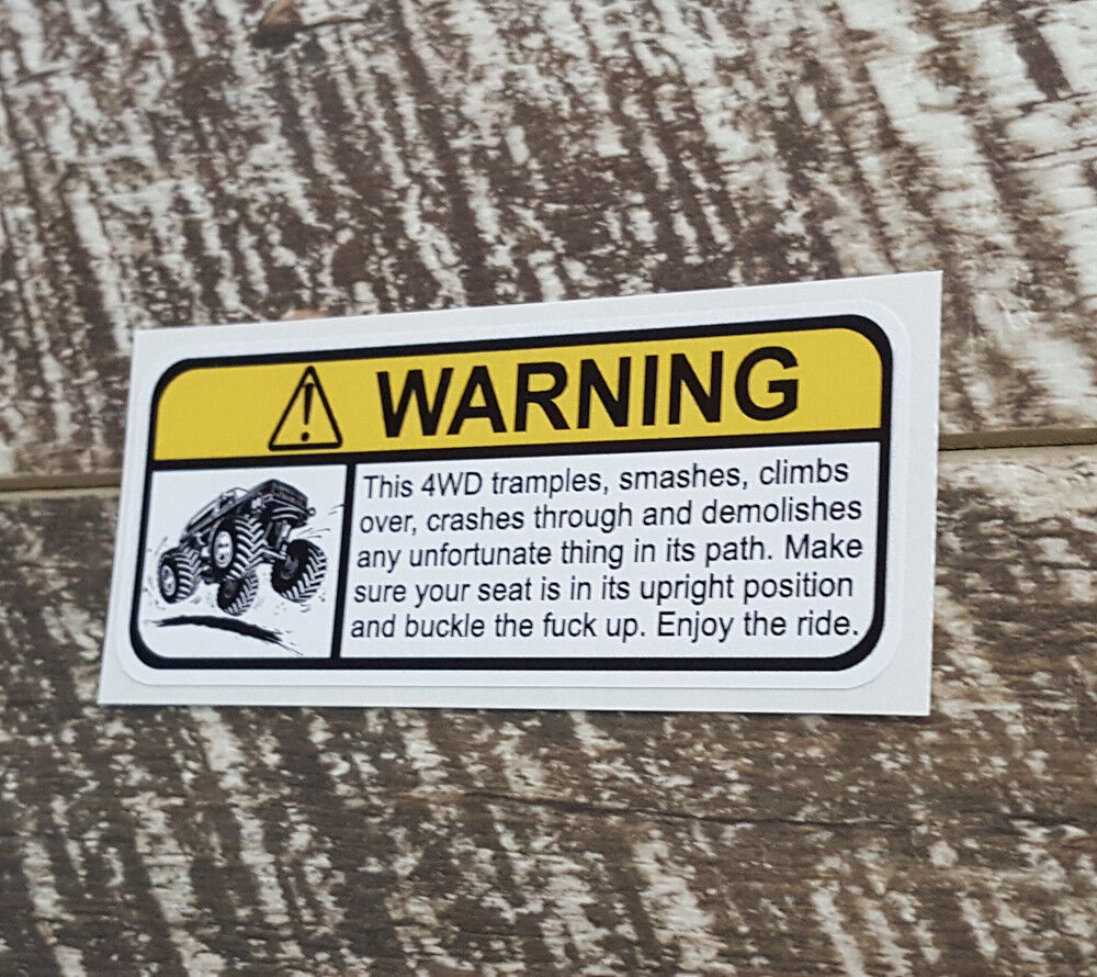 Details about 4wd warning decal sticker humour funny novelty vehicle awd 4wd decals stickers