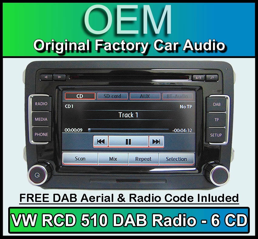 vw transporter t5 dab unit rcd 510 dab radio 6 cd changer touchscreen sd card ebay. Black Bedroom Furniture Sets. Home Design Ideas