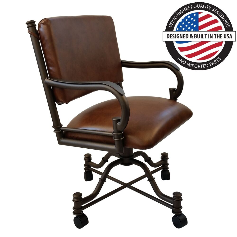 Casual rolling caster dining arm chair with swivel and for Dining chairs with casters