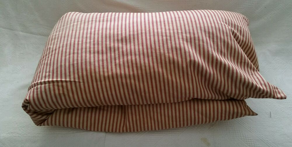 Antique Feather Down Pillow Ticking French Bolster Striped