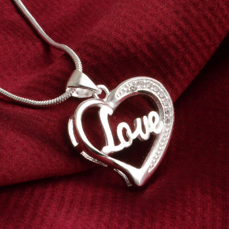 Love Silvers: Classic Silver Plated Charm Love Letter Heart Pendant