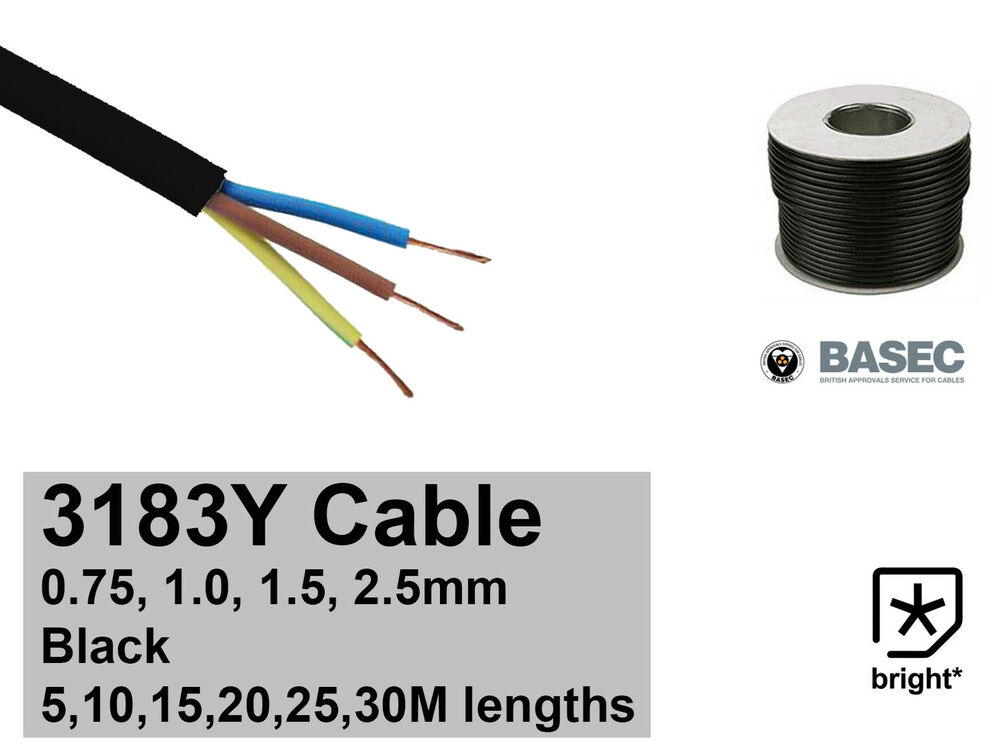 Single Core Cable 3 5mm : Black round flexible cable core y mm