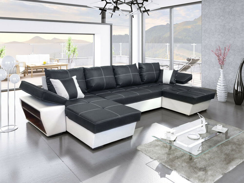 ecksofa tivoli u mit schlaffunktion eckcouch sofagarnitur modern 01 ebay. Black Bedroom Furniture Sets. Home Design Ideas