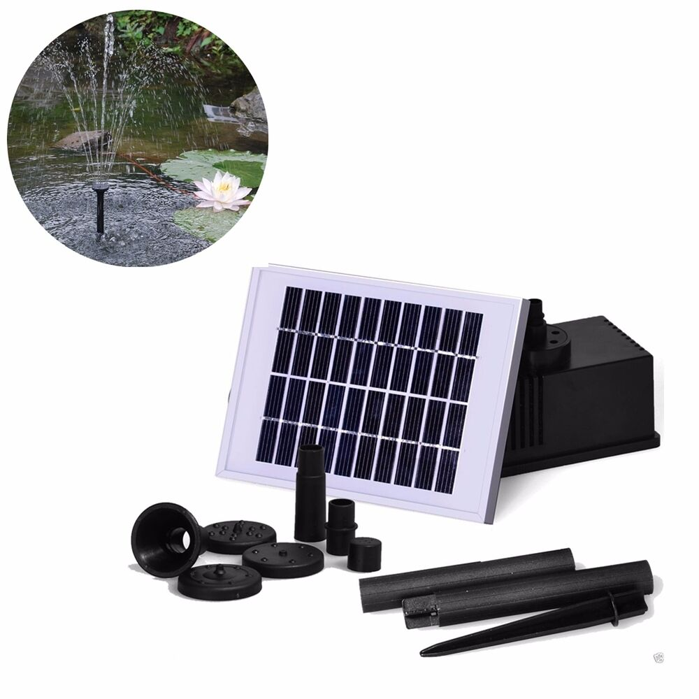 2w solar teich pumpe springbrunnen garten solarteichpumpe wasserspiel font ne ebay. Black Bedroom Furniture Sets. Home Design Ideas